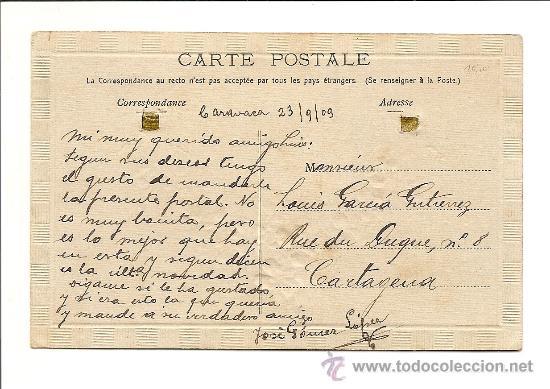 Postales: PRECIOSA POSTAL EXTRANJERA CON PINTURA DE RELIEVE Y PEUQEÑO LAZO (LE FALTA UN LAZO) - AÑO 1909 - Foto 2 - 39250256