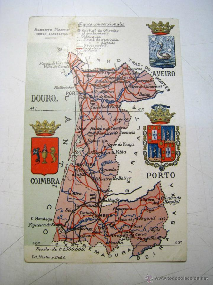 Postal Mapa Y Escudo Provincia Douro Aveiro C Sold Through