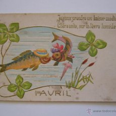 Postales: POSTAL TROQUELADA. PECES. CIRCULADA 1906.. Lote 40336308