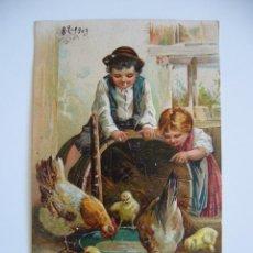 Postales: POSTAL TROQUELADA. NIÑOS CON GALLINAS. CIRCULADA 1909. . Lote 40343390