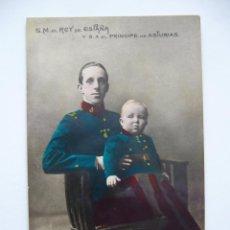 Postales: POSTAL S.M. REY DE ESPAÑA Y S.A. EL PRINCIPE DE ASTURIAS. CIRCULADA 1909.. Lote 40684321