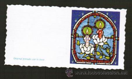 Tarjeta Navidena Original Pintado Con La Boca Comprar Postales - Tarjeta-navidea-original