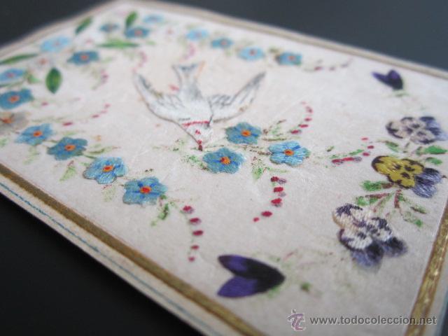 Postales: Antigua felicitación. Valencia, año 1888. Hecha y pintada a mano. En relieve - Foto 2 - 41214234