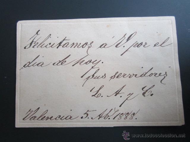 Postales: Antigua felicitación. Valencia, año 1888. Hecha y pintada a mano. En relieve - Foto 3 - 41214234