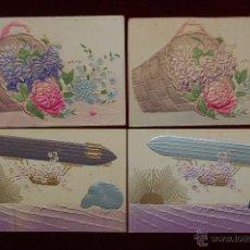 Postales: LOTE DE 4 ANTIGUAS POSTALES TROQUELADAS. FLORES Y ZEPPELINES. Lote 42642984