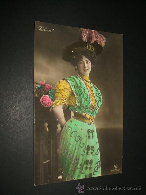 SAHARET POSTAL ARTISTA HACIA 1910 CON BRILLANTINA (Postales - Postales Temáticas - Especiales)