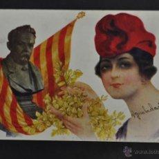 Postales: ANTIGUA POSTAL CATALANISTA. PERSONAJE FEMENINO. ESCRITA. Lote 43412776