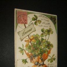Postales: POSTAL JARRON CON TREBOL EN RELIEVE. Lote 43570346