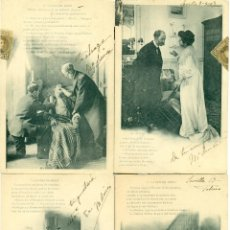 Postales: LA VISITA DEL MEDICO. COLECCION COMPLETA DE 10 POSTALES. CIRCULADAS EN 1903.. Lote 43572659