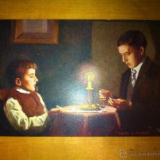Postales: ANTIGUA POSTAL CANDLE-LIGHT - A LA LUZ DEL CANDIL - TUCKS POST CARD . Lote 44109649