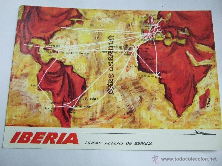 POSTAL IBERIA - MAPA DE RUTAS - RUAN 1968 - ESCRITA SIN CIRCULAR (Postales - Especiales)