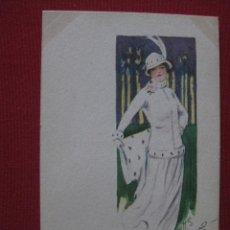 Postales: POSTAL SEÑORA CON SOMBRERO PRINCIPIO 1900.. Lote 46576513