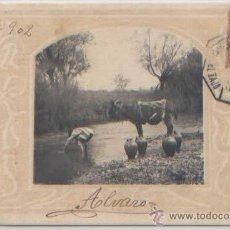 Postales: POSTAL AGUADOR COGIENDO AGUA ORLA MODERNISTA HAUSER Y MENET CIRCULADA 1902 AMBULANTE EL TAJO. Lote 46889580