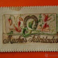Postales: POSTAL - MUCHAS FELICIDADES BORDADA LA TELA SE ABRE - ROVIRA - CIRCULARA EN 1946 VER INTERIOR. Lote 47986915