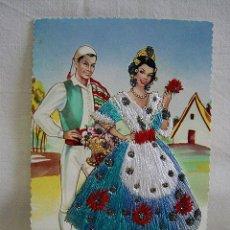 Postales: (TES-3) POSTAL BORDADA TRAJES TÍPICOS. ELLA CON TRAJE BORDADO. VALENCIA. AÑOS 50. Lote 48677993