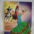 Postales: (TES-5) POSTAL BAILAORA FLAMENCO-TRAJE TELA Y BORDADO-CARTEL TOROS-ANDALUCÍA-AÑOS 50-60. ED. JOPAMA. Lote 83521819