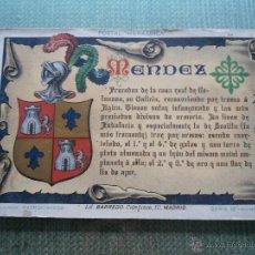Postales: ANTIGUA POSTAL HERALDICA - APELLIDOS PATRONIMICOS - MENDEZ - LITOGRAFIA BARREDO. Lote 48982286