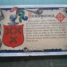Postales: ANTIGUA POSTAL HERALDICA - APELLIDOS PATRONIMICOS - HERNANDEZ - LITOGRAFIA BARREDO. Lote 48982872