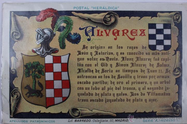 P-1346. POSTAL APELLIDOS PATRONIMICOS. LITOGRAFIA BARREDO. MADRID. ALVAREZ. (Postales - Postales Temáticas - Especiales)