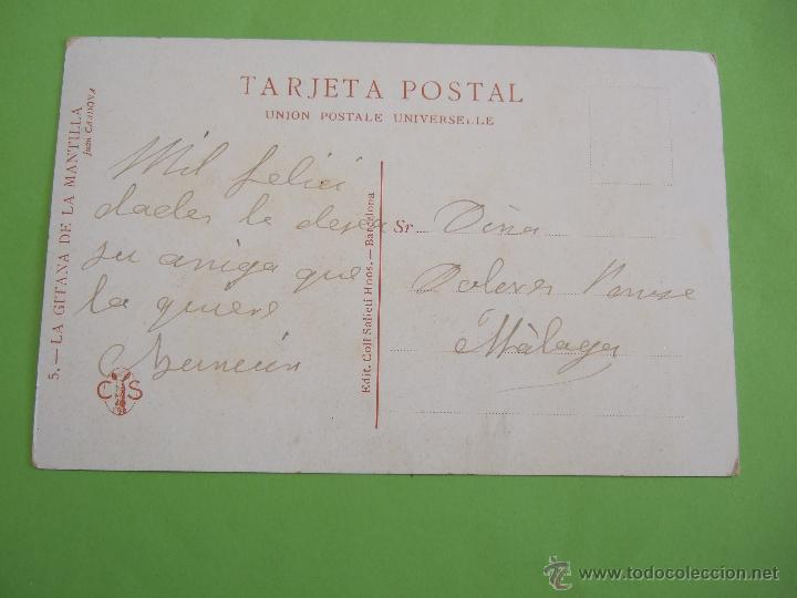 Postales: TARJETA POSTAL - LA GITANA DE LA MANTILLA - JUAN CARDONA - EDIT- COLL SALIETI HNOS - BARCELONA - Foto 2 - 49671629