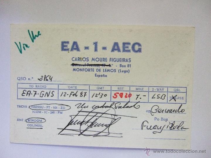 Postales: TARJETA RADIOAFICIONADO - MONFORTE DE LEMOS - LUGO - 1987 - FOTO DEL OPERADOR CON SU EQUIPO - Foto 2 - 49840986