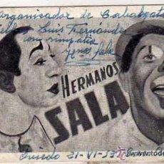 Postales: HERMANOS SALA. PAYASOS, AUTÓGRAFO O FIRMA DE LOS ARTISTAS. CIRCO AMERICANO. 15 X 8,50 CM.. Lote 50496825