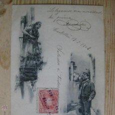 Postales: PELANDO LA PAVA - HAUSER Y MENET - CIRCULADA 1902 SIN DIVISORIA. Lote 50509777