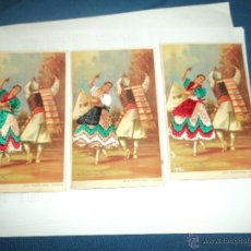 Postales: TRES POSTALES JOTA VALENCIANA BORDADA CON DIFERENTES COLORES. Lote 50983265