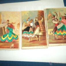 Postales: TRES POSTALES DE BAILE REGIONAL BORDADAS EN HILO. Lote 50983414