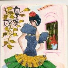 Postales: POSTAL CON BORDADO Y TELA - EXCLUSIVAS C. RIVAS AÑOS 60. Lote 164391324