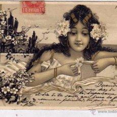 Postales: POSTAL MODERNISTA - MODERNISMO. ART NOUVEAU CIRCULADA. REVERSO SIN DIVIDIR.. Lote 195265175