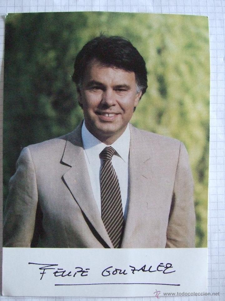 TARJETA TAMAÑO POSTAL - FELIPE GONZALEZ - AÑOS 80 - FIRMA IMPRESA (Postales - Postales Temáticas - Especiales)