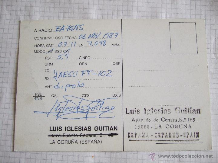 Postales: TARJETA RADIOAFICIONADO 1987 LA CORUÑA - FARO - Foto 2 - 52169183