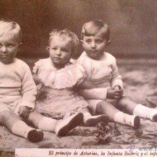 Postales: FOTOGRAFICA, EL PRIINCIPE DE ASTURIAS, LA INFANTA BEATRIZ Y EL INFANTE D.JAIME. Lote 52626466
