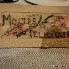 Postales: POSTAL BORDADA MOLTES FELICITATS ESCRITA POR DETRAS NADAL 1940. Lote 53052135