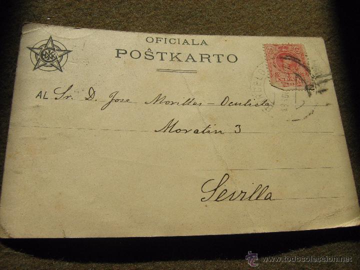 Postales: POSTAL CONGRESO ESPERANTO PARIS 1914 - CIRCULADA EN ESPAÑA DE BARCELONA A SEVILLA EN 1914 - Foto 2 - 53204696
