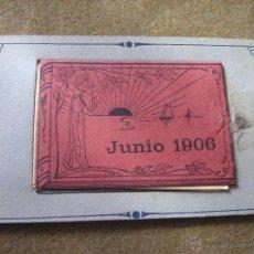 Postales: POSTAL DE JUNIO DE 1906 CO DESPLEGABLE CON 7 VISTAS ALFONSO XIII Y OTROS. Lote 53212507