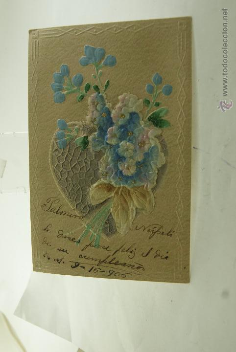 POSTAL RELIEVE CON TELA 1906 ESCRITA Y FRANQUEADA (Postales - Postales Temáticas - Especiales)