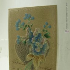 Postales: POSTAL RELIEVE CON TELA 1906 ESCRITA Y FRANQUEADA. Lote 53620092