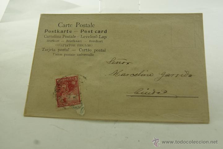 Postales: POSTAL RELIEVE CON TELA 1906 ESCRITA Y FRANQUEADA - Foto 2 - 53620092