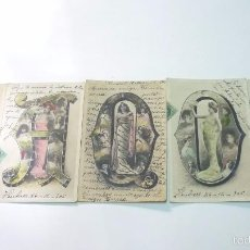 Postales: LOTE DE 5 POSTALES ABECEDARIO MODERNISTA. MODERNISMO. CIRCULADAS AÑOS 1900S. Lote 55317110