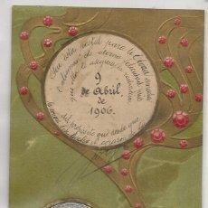 Postales: POSTAL CIRCULADA EN 1906 CON MONEDA DE LA SUERTE CON NUMERO 13 Y TREBOLES DE 4 HOJAS. Lote 56567377