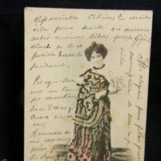 Postales: POSTAL CON RELIEVES ADHERIDOS CUPLETISTA ARTISTA CANTANTE MANTÓN MANILA OVIEDO 1905. Lote 57675197