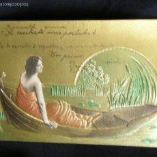 Postales: POSTAL TROQUELADA DORADA MUJER BARCA ART NOU NOUVEAU UNION POSTALE UNIVERSELLE OVIEDO 1905. Lote 57676308