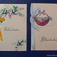 Postales: 2 TARJETASDE FELICITACIÓN DEL AÑO 1927. VER FOTOS. Lote 57935241