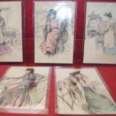 Postales: 5 POSTALES RAMON CASAS SERIE CHAUFFEUSES COMPLETA 1903. Lote 58445381