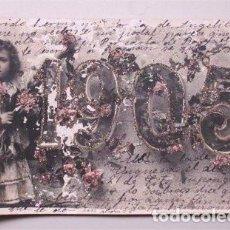 Postales: TARJETA POSTAL CON LA FECHA DE 1905, ADORNADA CON PURPURINA DE BRILLO. CIRCULADA A VALLADOLID. Lote 61403771