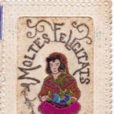 Postales: P- 6220. POSTAL BORDADA MOLTES FELICITATS. 1950.. Lote 62588744