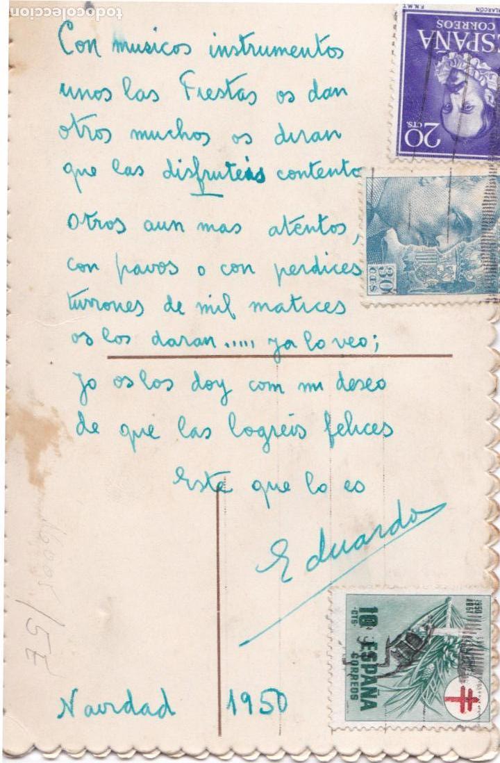 Postales: P- 6220. POSTAL BORDADA MOLTES FELICITATS. 1950. - Foto 2 - 62588744