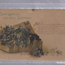 Postales - TARJETA POSTAL. CUMPLEAÑOS FELIZ. A HAPPY BIRTHDAY. IMAGEN DE CAJA CON FLORES - 62813904